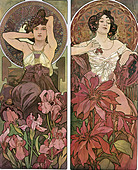 fine arts, Mucha, Alfons (1860 - 1939), poster, circa 1900, two women, sitting, flowers, hair, Art Nouveau, Alphonse, posters, - Stock Image - CP1ACG