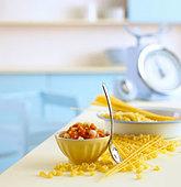Pasta with tomato sauce - Stock Image - BJK5C2