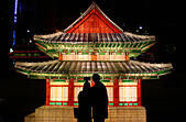 "Seoul, South Korea. 6th Nov, 2014. A couple take ""selfie"" in front of lanterns on the Cheonggyechun stream in Seoul, South Korea, Nov. 6, 2014. The annual lantern festival will be held from Nov. 7 to 23 here. © Yao Qilin/Xinhua/Alamy Live News - Stock Image - EA4849"