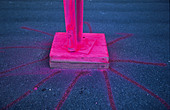 pink fluorescent paint - Stock Image - B8PE2X