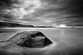 Stone in sea at Whitesands - Stock Image - DEJKE8