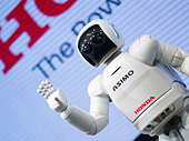 Honda's ASIMO robot at the Honda Welcome Plaza, Aoyama, Tokyo A.S.I.M.O. = Advanced Step in Innovative Mobility - Stock Image - CYXNDH