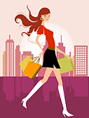 illustration drawing of shopping girl - Stock Image - B3KP8B