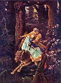 'Ivan Tsarevich on a Grey Wolf', 1887. Painting by Viktor Mikhailovich Vasnietsov.(Russian artist 1846-1926) Fairytale - Stock Image - AFY70D