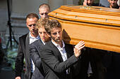 Cathedral Sainte Raparate, Nice, France. 21st July, 2015. The funeral of Jules Biachi, former F1 driver for Marussia F1 in the FIA Formula One World Championship. Bianchi died on 17th July from injuries received in the Japanese F1 Grand prix at Suzuka Circuit, Japan 5th October 2014. The coffin is carried by F1 drivers including romain grosjean and sebastian vettel © Action Plus Sports/Alamy Live News - Stock Image - EY66PH