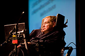 Stephen Hawking is at TED conference.Stephen William Hawking PhD CH CBE FRS FRSA is a British theoretical physicist. - Stock Image - BMM492
