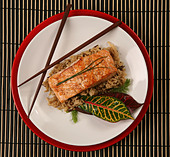 Top View of Healthy Salmon Dinner on Patterned Placemat - Stock Image - B6MF58