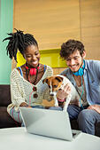 People and dog working in office - Stock Image - E59HMT