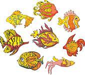 Motley tropical fish. Set of color vector illustrations. - Stock Image - DNNAFY