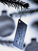 Close up of credit card Christmas ornament on tree - Stock Image - BAXWKW