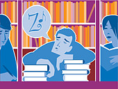 A picture of a guy who has fallen asleep on his books - Stock Image - BR72PK
