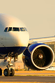 Close-up of commercial airplane - Stock Image - ATMRR2