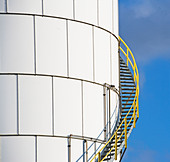 Steps on oil tank - Stock Image - BGYKKB