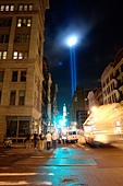 Beams of Light at Ground Zero World Trade Center Symbolizing Twin Towers in New York City USA on September 11 2008 Copy Space - Stock Image - B4BG60