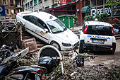 Genoa, Italy. 10th Oct, 2014. At least one person died when flash floods swept through the northwestern Italian city of Genoa on Thursday night, on October 9, 2014. Shop windows were smashed, cars washed aside and many streets were left knee deep in muddy water. © Sabrina de Polo/NurPhoto/Alamy Live News - Stock Image - E8MTFG