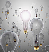 Light bulbs floating in air - Stock Image - D2PPEM