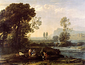 "fine arts, Lorrain, Claude (1600 - 23.11.1682), painting, ""Landscape with rest in flight to Egypt"", 1647, oil on canvas, Staatli - Stock Image - B1C1J0"
