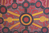 Australia - Uluru-Kata Tjuta National Park. Aboriginal painting in the hotel Sheraton. - Stock Image - CP4FJX