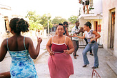 Santiago de Cuba, Cuba, people dancing in the street - Stock Image - D15C2T