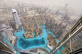 Dubai - view from Burj Khalifa Tower, United Arab Emirates - Stock Image - CN4XN2