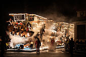 Shepton Mallet, UK. 12th November, 2014. Illuminated floats or 'carts' lit up the streets during the Shepton Mallet Carnival 2014. The carnival is to commemorate the attempted blowing up of the Houses of Parliament by Guy Fawkes. © Pete Maclaine/Alamy Live News - Stock Image - EADPMK