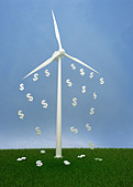 Dollar sign falling from wind turbine against clear sky depicting the concept of profit in ecology - Stock Image - D398C2