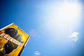 Low Angle View Of A Sign On The Equator; Kenya Africa - Stock Image - CF4G1D