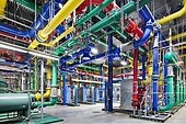 epa03439150 An undated handout photo provided by Google on 19 October shows colourful pipes that carry water, at a Google Data Center in the Dalles, Oregon, USA. The blue pipes supply cold water and the red pipes return the warm water back to be cooled.  EPA/GOOGLE HANDOUT - Stock Image - CM7FRF