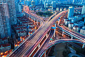 city interchange with tail lights - Stock Image - EJ92PD