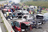Athens. 5th Oct, 2014. Photo taken on Oct. 5, 2014 shows the site of a 40-car pile-up near Thessaloniki, Greece. At least four people were killed in a 40-car pile-up in northern Greece on Sunday, local authorities said. According to medical sources, there were 14 persons injured in the multiple vehicles accident. © Xinhua/Alamy Live News - Stock Image - E8CGW5