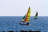 Hobie Cat catamaran off the shore at Alaminos Cyprus - Stock Image - EANBGY