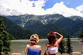 Lake Ritsa in Caucasus - Stock Image - BPCA7X