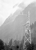 Pylons of the power transmission line at the Nakharsky mountain pass Abkhazia - Stock Image - B9CK6C