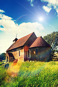 sunshine rural church - Stock Image - D9E0PG