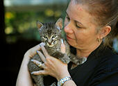 Oct. 23, 2012 - Raleigh, TN, U.S. - October 23, 2012 - Mary Wilbanks with a five-week-old bobcat named Cheyenne, that is currently in her care. (Credit Image: © Nikki Boertman/The Commercial Appeal/ZUMAPRESS.com) - Stock Image - CM89R5