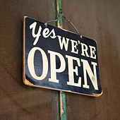 Closeup of open sign - Stock Image - A0CENA