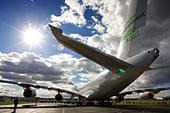Airbus A380 at Farnborough International Airshow 2008 United Kingdom - Stock Image - BA5MJA