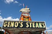 Urban Scene of Landmark Philadelphia Cheesesteak Vendor Geno's - Stock Image - B4BG24