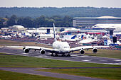 Airbus A380-841 at Farnborough International Airshow 2014 - Stock Image - E7CW46