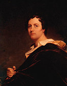 Lord Byron oil  painting by W E West. George Gordon Byron, 6th Baron Byron. British poet 22 January 1788 – 19 April - Stock Image - B0DRY3