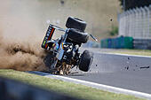 Budapest, Hungary. 24th July, 2015. SERGIO PEREZ of Mexico and Sahara Force India F1 Team has a crash during the first free practice session of the 2015 Formula 1 Hungarian Grand Prix at the Hungaroring in Budapest, Hungary. (Credit Image: © James Gasperotti via ZUMA Wire) © ZUMA Press, Inc./Alamy Live News - Stock Image - EY90HF