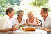 Friends Eating An Al Fresco Lunch - Stock Image - B7JB29