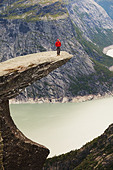 hike in Norway mountains,Trolltunga cliff near Odda - Stock Image - CF4KM3