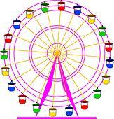 Silhouette atraktsion colorful ferris wheel. Vector  illustration. - Stock Image - DNKT1W