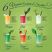 FRESH VEGETABLE COCKTAILS & SMOOTHIES recipes and illustrations with fruit and spices decoration - Stock Image - DYCKGG
