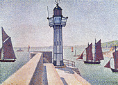 "fine arts, Signac, Paul, (1863 - 1935), painting, ""Portrieux, Le Phare"", 1888, Rijksmuseum Kröller-Müller, Otterlo, French, n - Stock Image - BD66YJ"