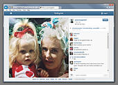 London, UK. 7th April 2014. Peaches Geldof's last tweet before she was found dead at her home in Wrotham, Kent earlier today. The tweet shows an instagram photograph of Peaches and her mother Paula Yates who died in 2000 © Lenscap/Alamy Live News - Stock Image - DY5942