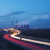 Coal Fired Power Station With Motorway - Stock Image - BM3B9G