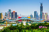 Shenzhen, China city skyline in the civic center district. - Stock Image - EFEPD4
