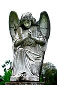 Praying angel in church graveyard - Stock Image - AF2WN3